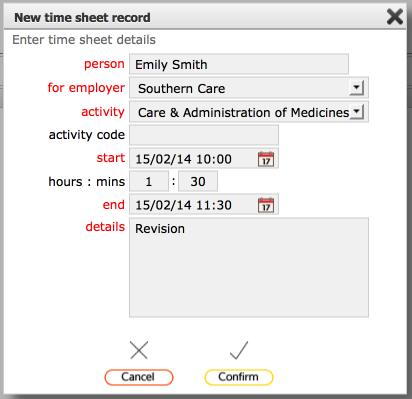 adding timesheets to qualifications records
